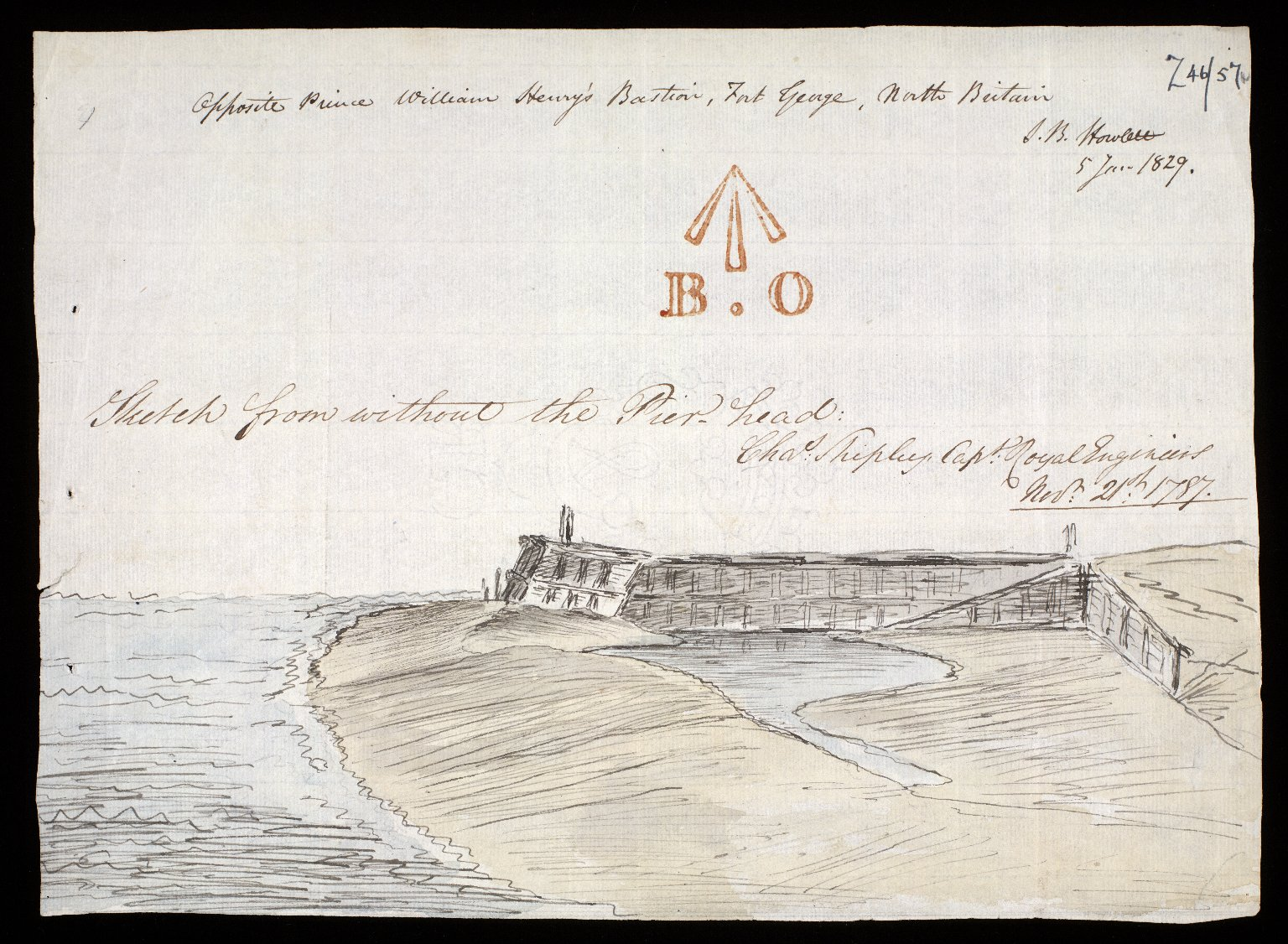 Sketch from without the Pier head; Opposite Prince William Henry's Bastion, Fort George, North Britain [1 of 1]