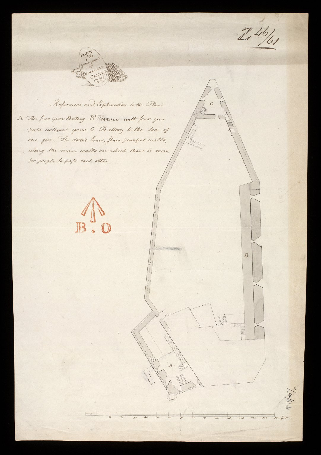 Plan of the gun-ports of Blackness Castle. [1 of 1]