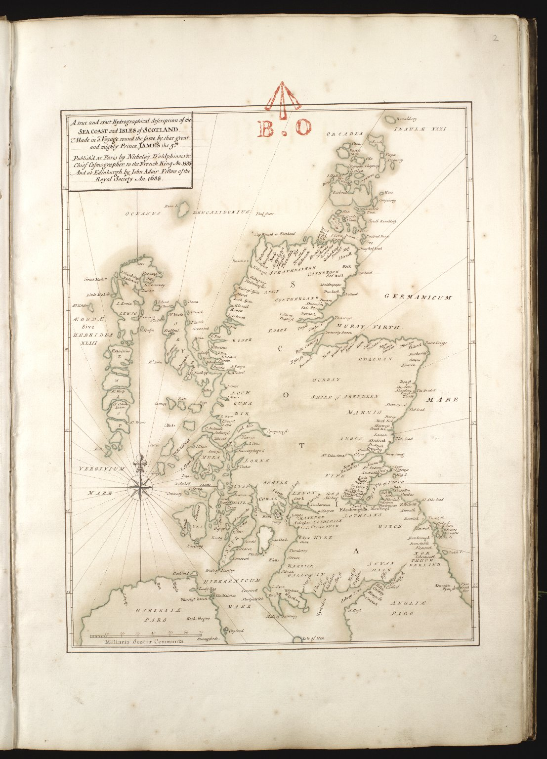 A true and exact Hydrographical description of the Sea Coast and Isles of Scotland Made in Voyage round the same by that great and mighty Prince James the 5th. [mansucript copy] [1 of 1]
