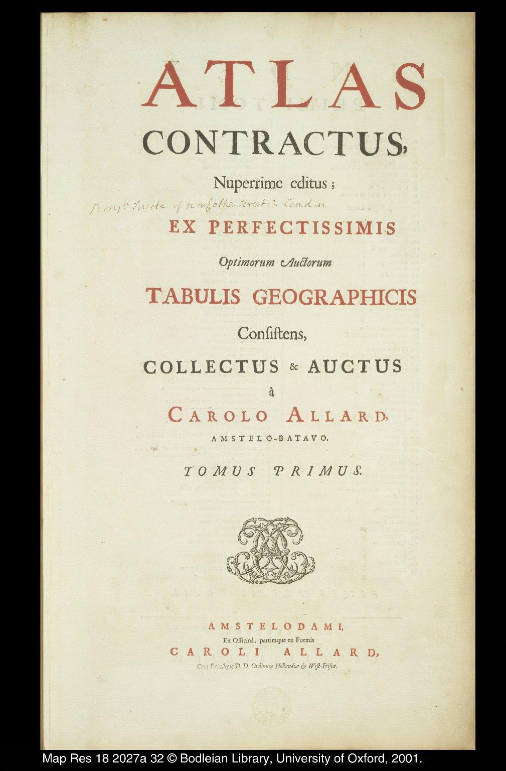 Atlas Contractus, Nuperrime editus ; [...] [1 of 1]