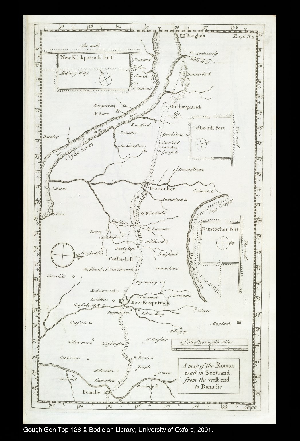 A map of the Roman wall in Scotland from the west end to Bemulie [1 of 1]