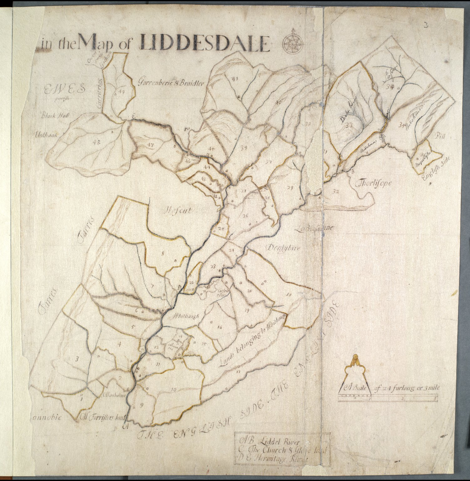 The number of acres in each farm in the map of Liddesdale [2 of 2]