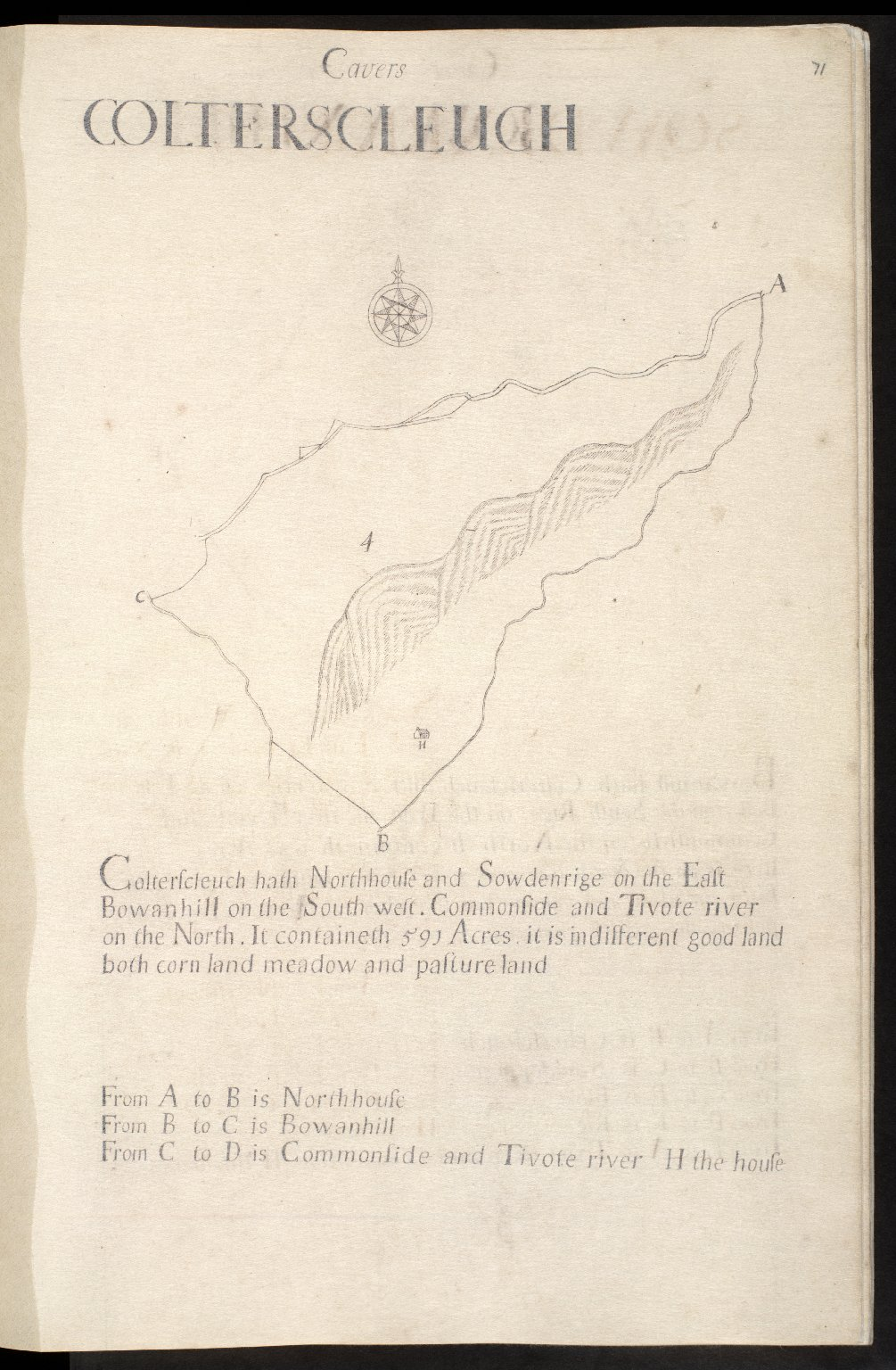 ['A Scale of 40 Chain or half A Mile', with scale bar and dividers. 'Not[e]. This Scale Serveth all the book unless there be Any Scale with with [sic] the mapp or in that leaf']. [1 of 1]