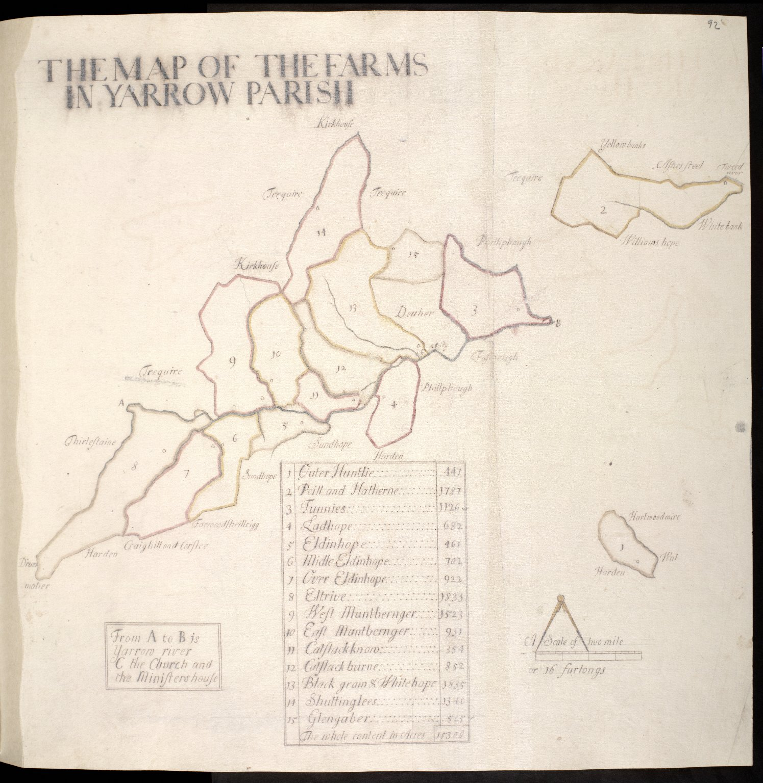 The Map of the Farms in Yarrow Parish [1 of 1]