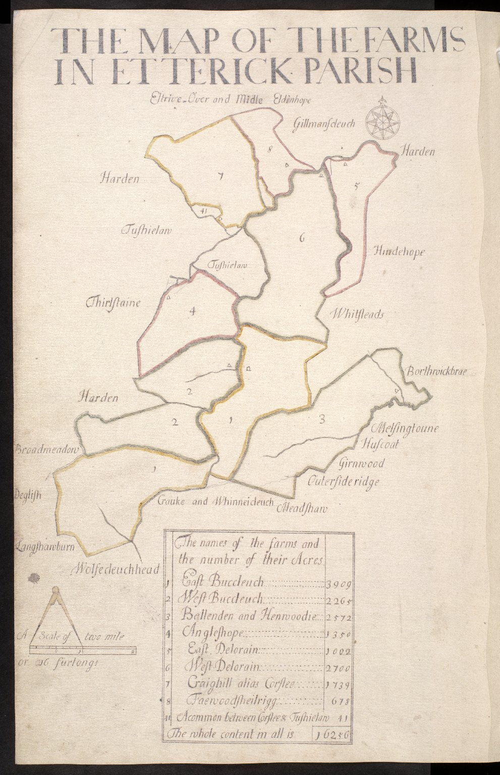 The Map of the Farms in Etterick Parish [1 of 1]
