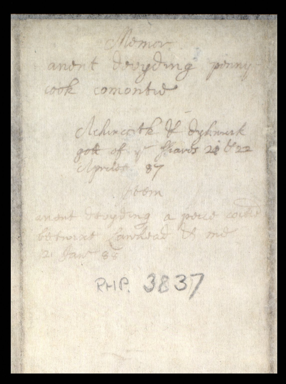 Memoir anent devyding penny cook commontie. Auchincorth & dykniuk gott of ye Shaws 21 & 22 April 87 [2 of 2]