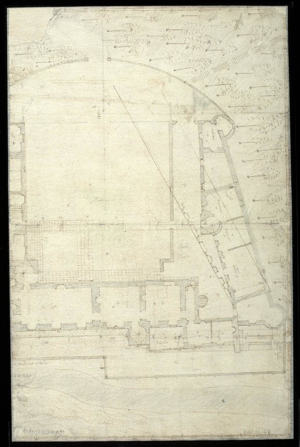 Sketch plan of Brechin Castle with South Esk river, and Skinner's Burn with the Town Yards of Brechin [2 of 2]