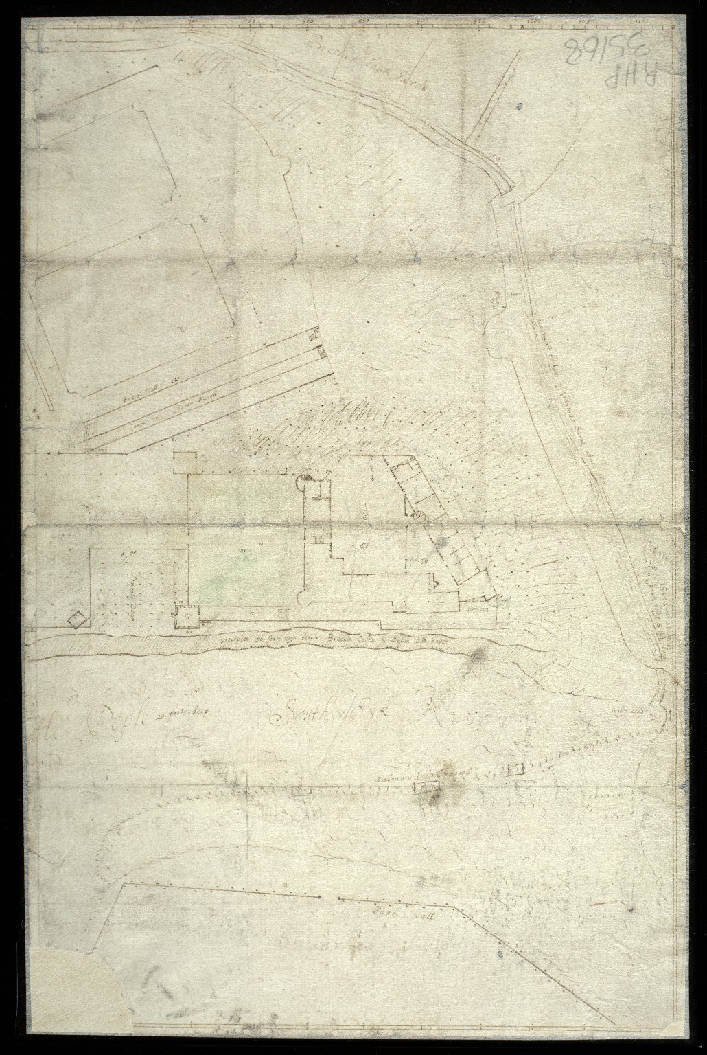 Sketch plan of Brechin Castle with South Esk river, and Skinner's Burn with the Town Yards of Brechin [1 of 2]