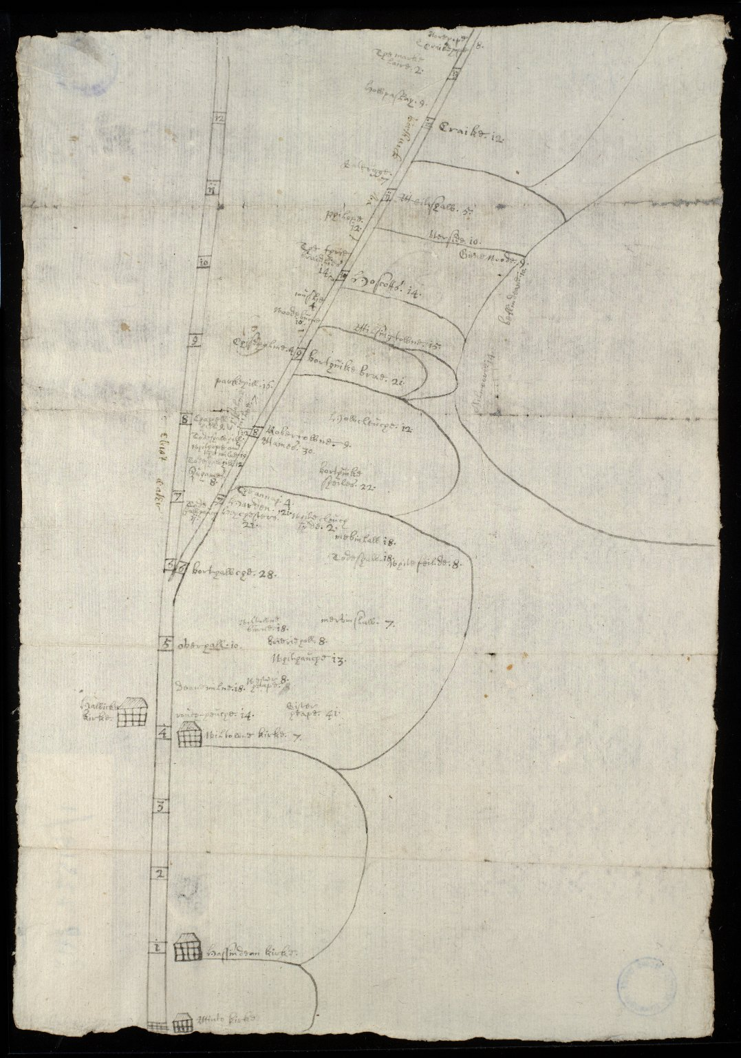 Carte of Hassindean, Wilton, borthick, & a part of Hawick & Selkirke parishes [1 of 2]