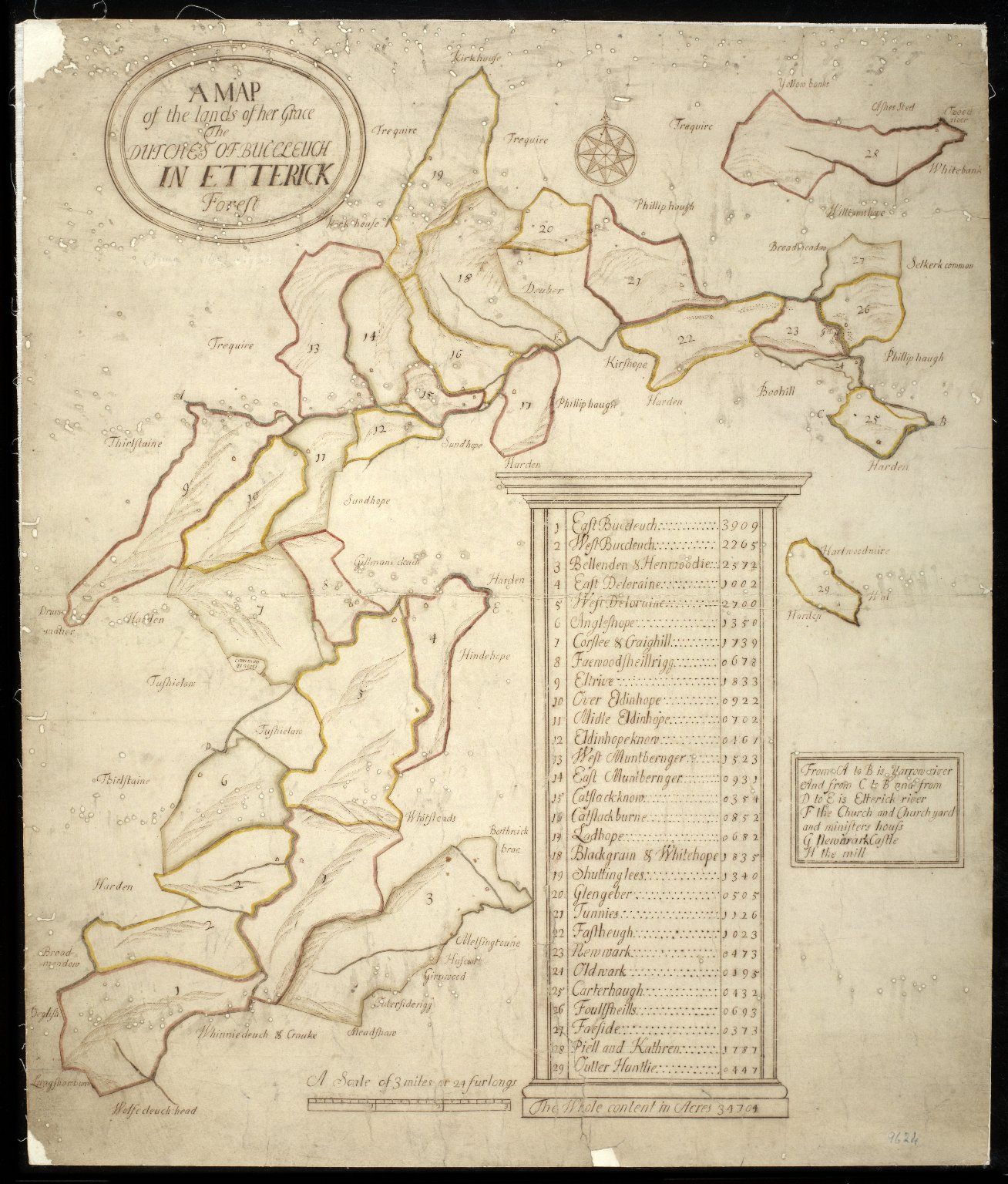 A Map of the lands of her Grace The Dutches of Buccleuch in Etterick Forest [1 of 1]