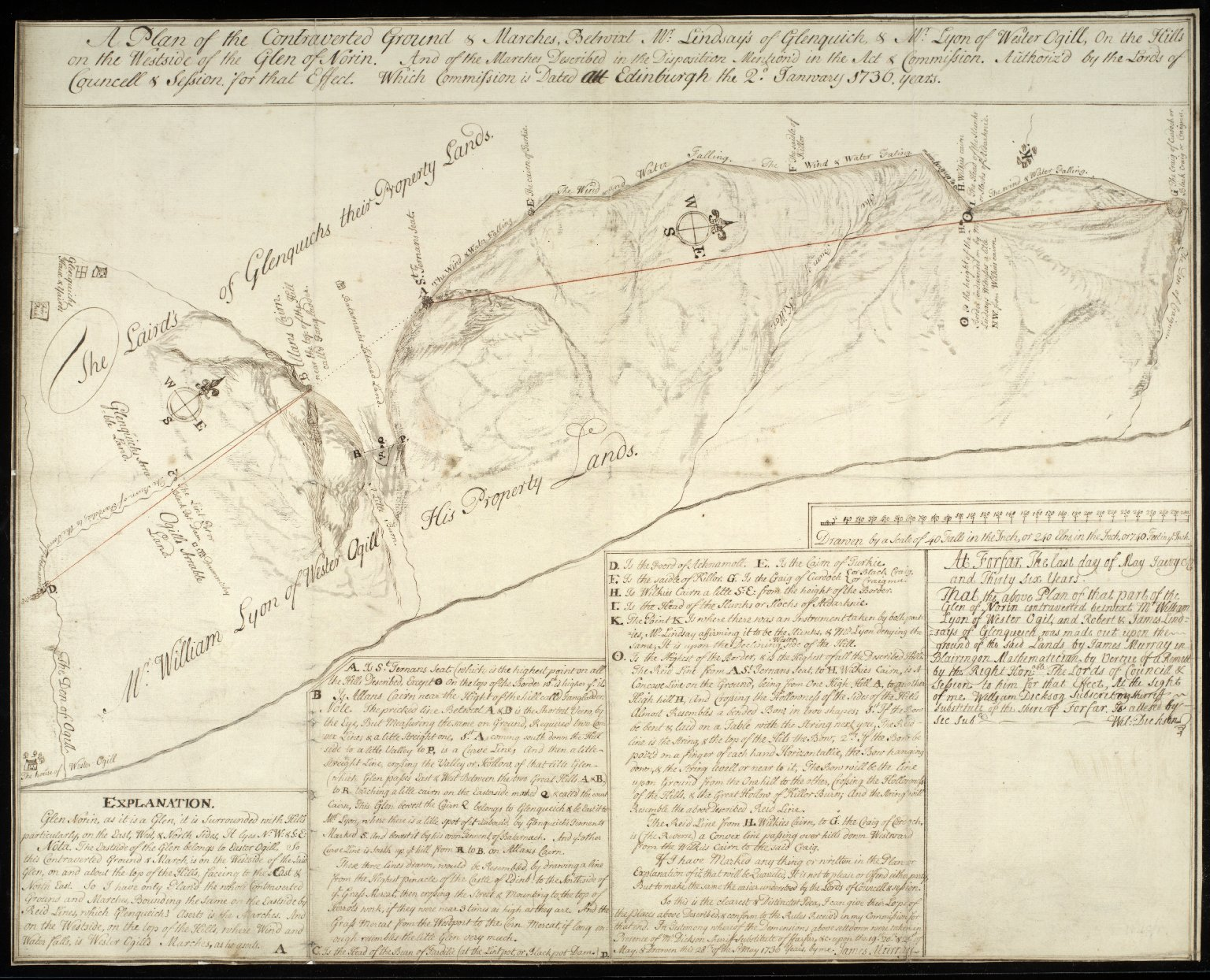 A Plan of the Controverted Ground & Marches Betwixt Mr. Lindsay's of Glenquich & Mr. Lyon of Wester Ogill, on the Hills on the Westside of Glen Norin And of the Marches described in the Disposition Mention'd in the Act & Commission [1 of 1]