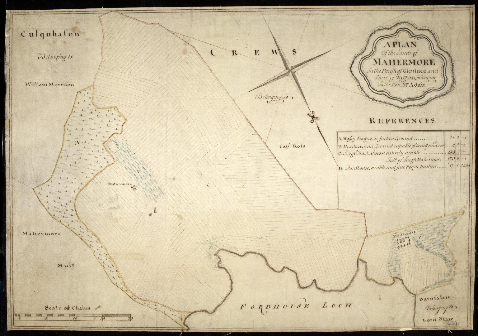 A Plan of the Lands of Mahermore In the Parish of Glenluce and Shire of Wigton, belonging to the Revd. Mr. Adair [1 of 1]