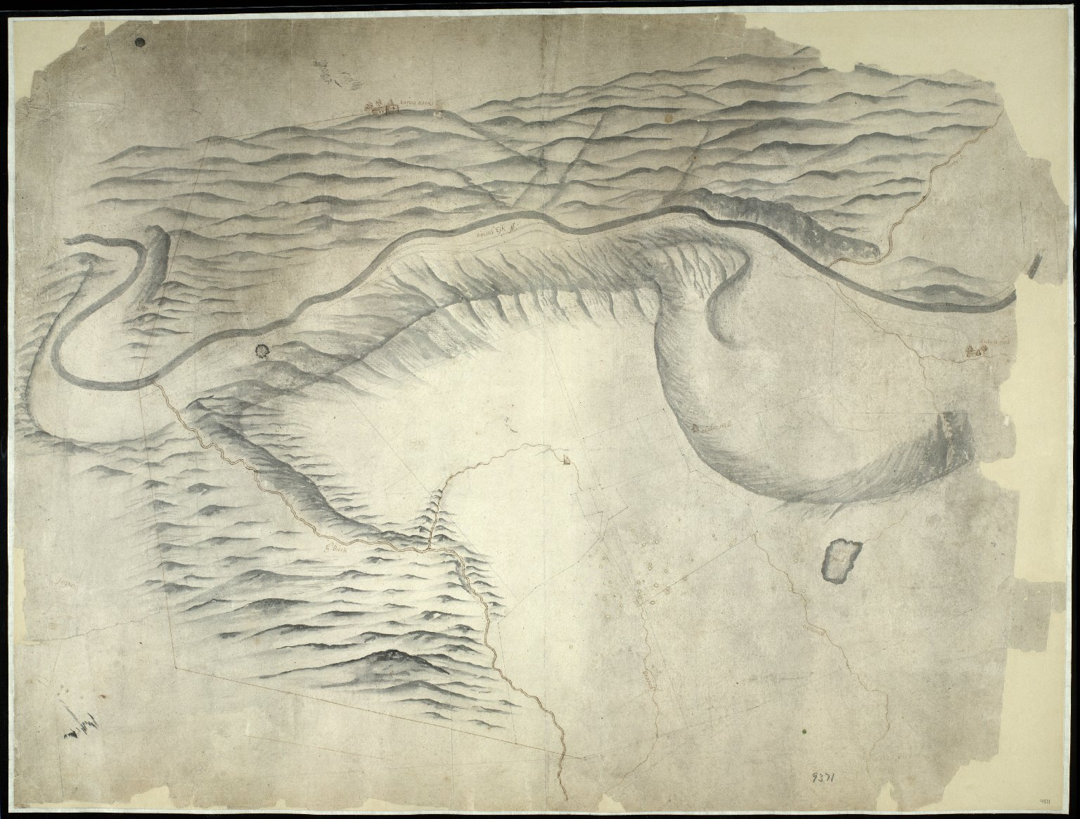 [Sketch map of the water catchment area around Newbigging House (Old Penicuik House), probably about 1687] [1 of 1]