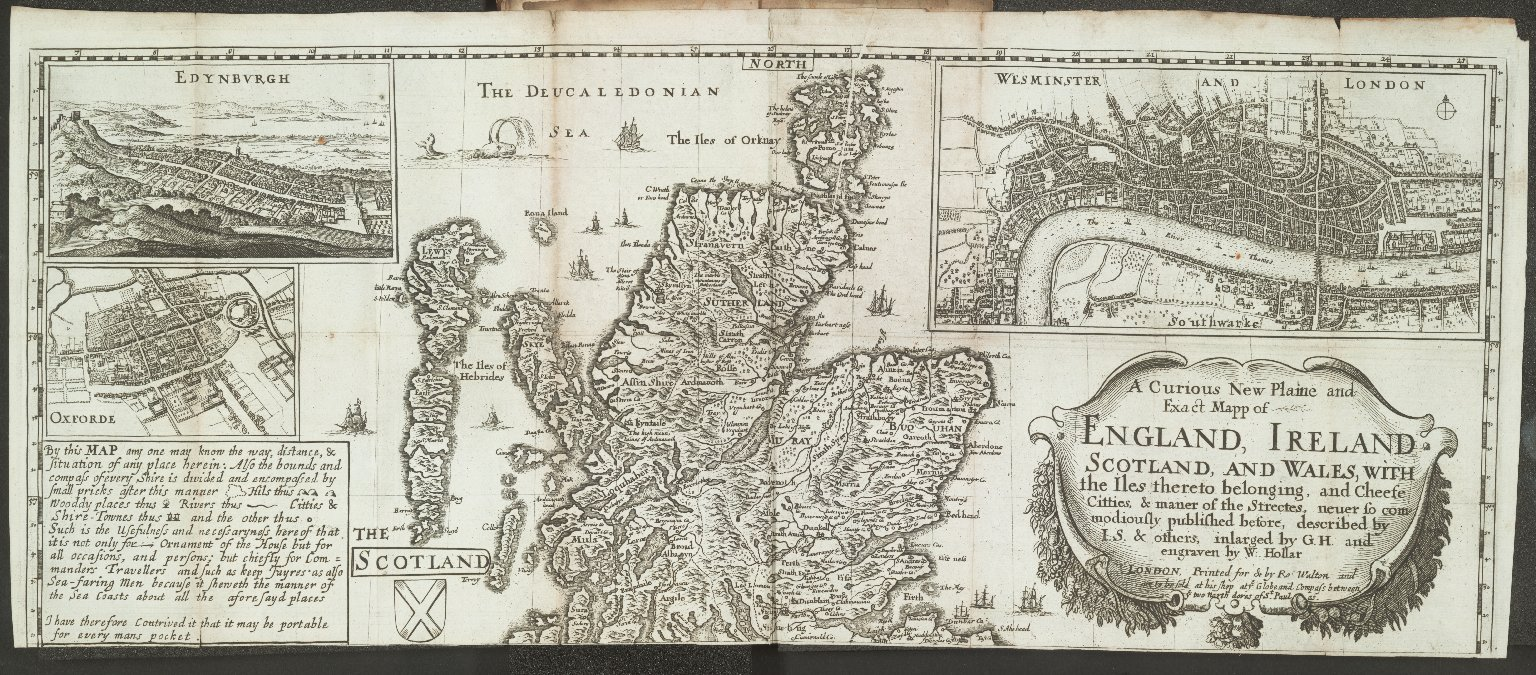 A Curious New Plaine and Exact Mapp of ENGLAND, IRELAND, SCOTLAND, AND WALES, WITH the Iles thereto belonging, and Cheefe Citties, & maner of the Streetes, neuer so commodiously published before, [1 of 1]