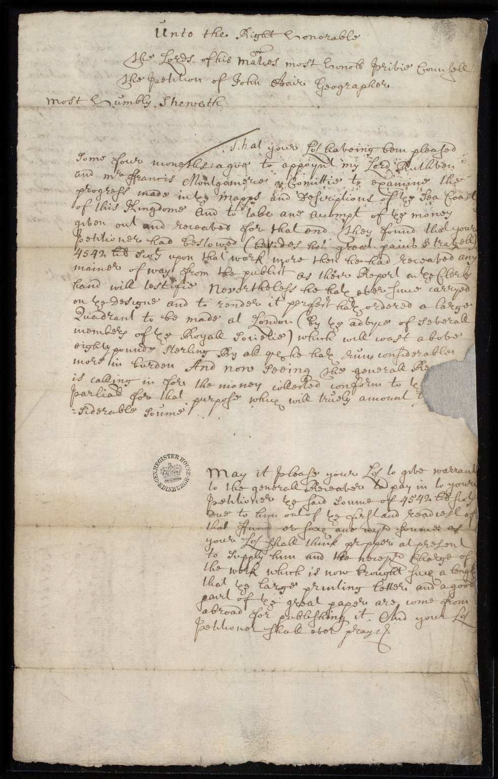 [Petition of John Adair to the Privy Council, containing reference to Adair ordering] a large quadrant to be made in London [1 of 1]