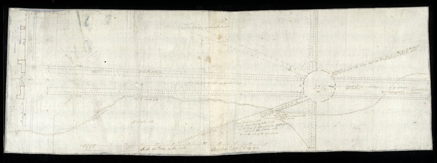 [Plan of the layout of the gardens and parks at Brechin Castle, showing main paths and avenues] [1 of 1]