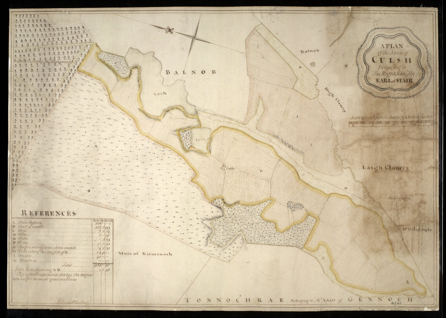 A Plan of the Lands of Culsh Belonging to The Right Hon. The Earl of Stair [1 of 1]