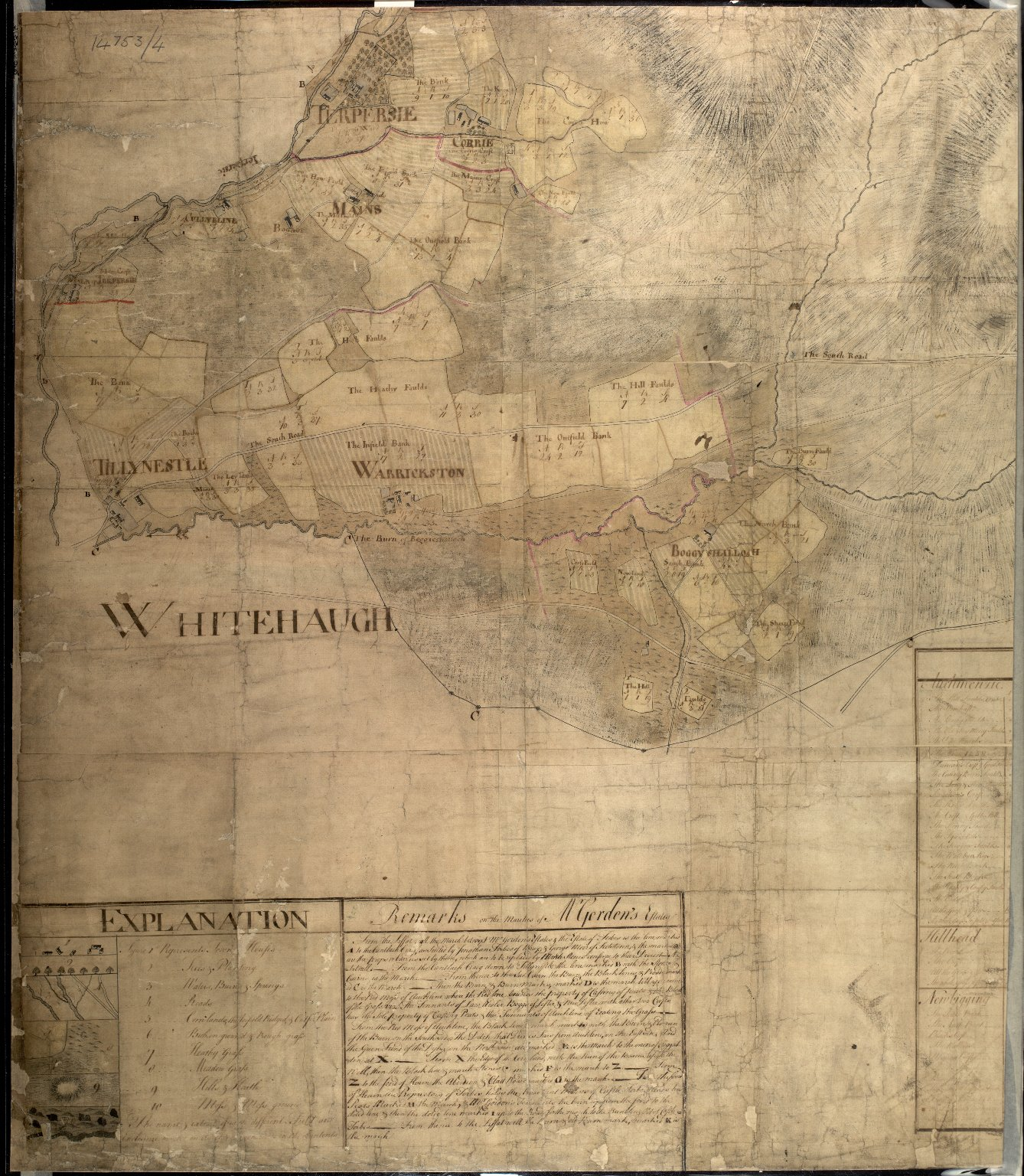 Plan of the Estates belongin to James Gordon of Moorplace Esqr. lying in the County of Aberdeen [7 of 9]