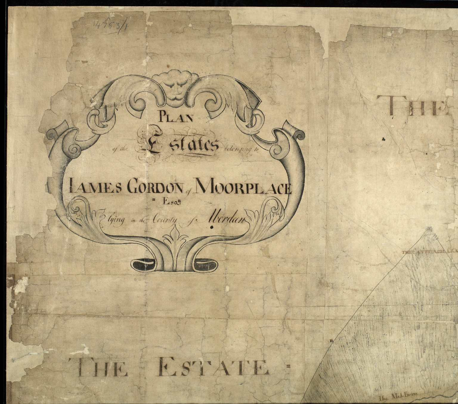 Plan of the Estates belongin to James Gordon of Moorplace Esqr. lying in the County of Aberdeen [1 of 9]