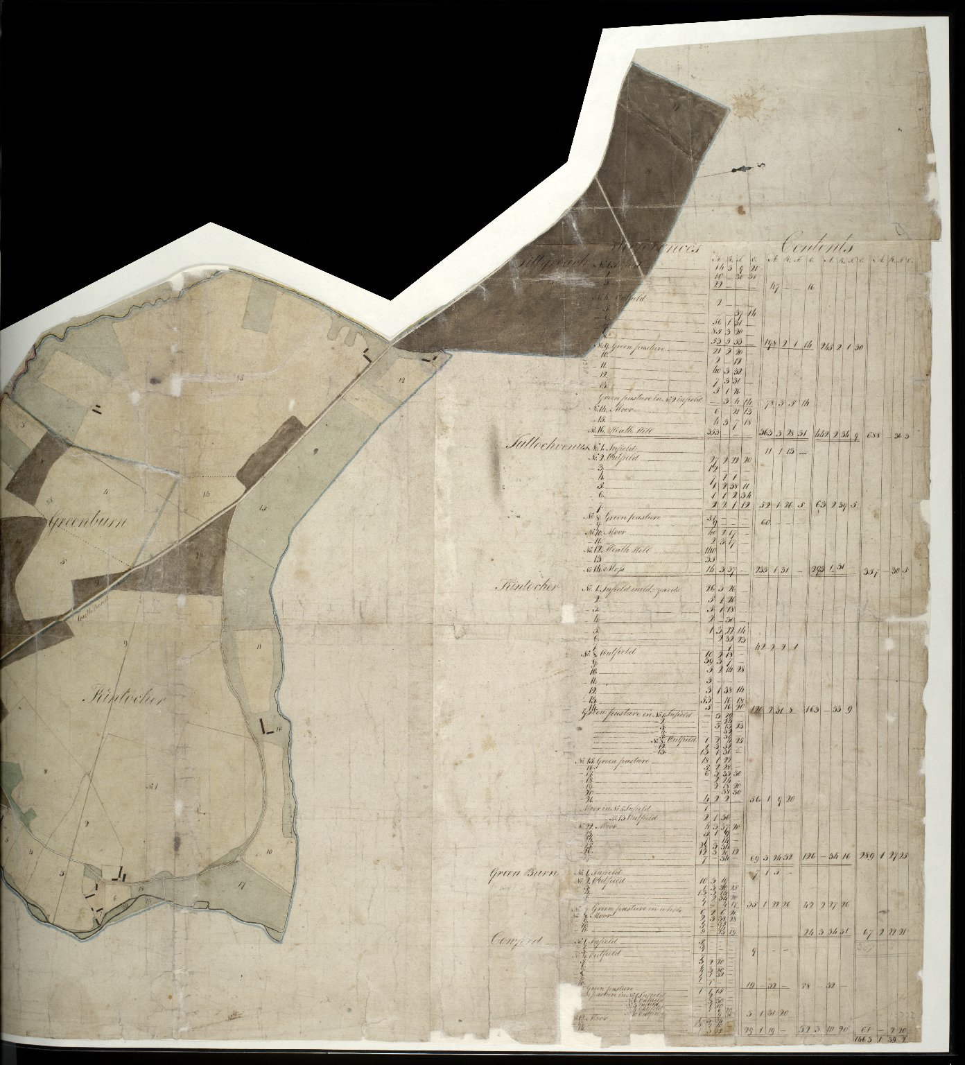 [Map of Tillyreach, Tullochvenus, Kintocher and Greenburn holdings] [1 of 2]