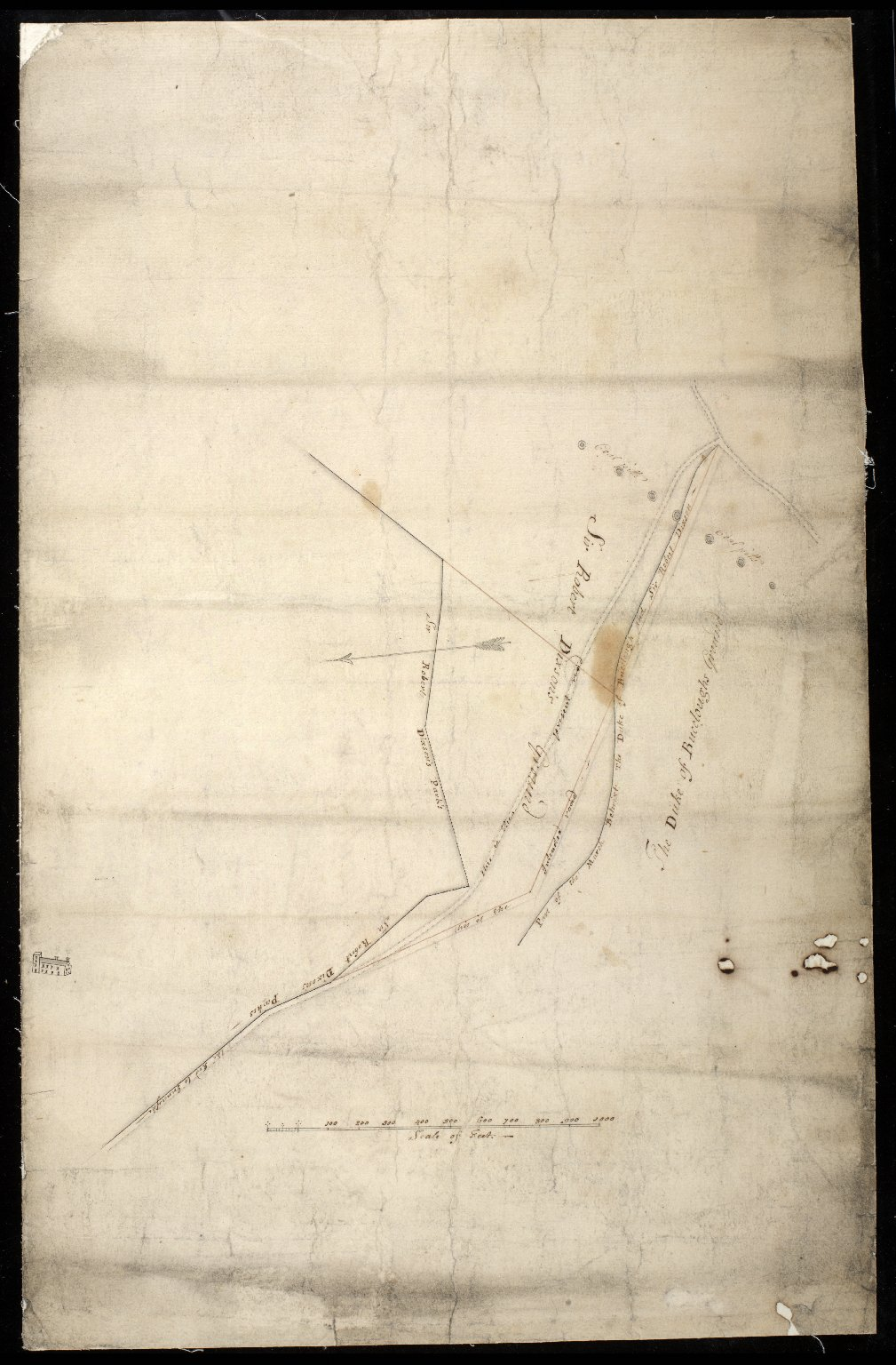 Plan of ground betwixt the Duke of Buccleuch's ground and Sir Robert Dickson's ground, showing the present and intended roads to Inveresk [1 of 1]