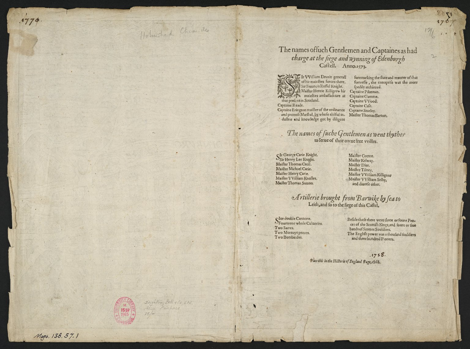 Edinburg : [the siege of Edinburgh Castle by English troops, 1573 ; Castle defended by Kirkcaldy of Grange on behalf of Mary Queen of Scots]. [2 of 2]