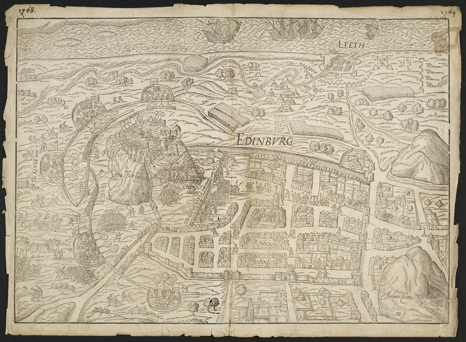 Edinburg : [the siege of Edinburgh Castle by English troops, 1573 ; Castle defended by Kirkcaldy of Grange on behalf of Mary Queen of Scots]. [1 of 2]