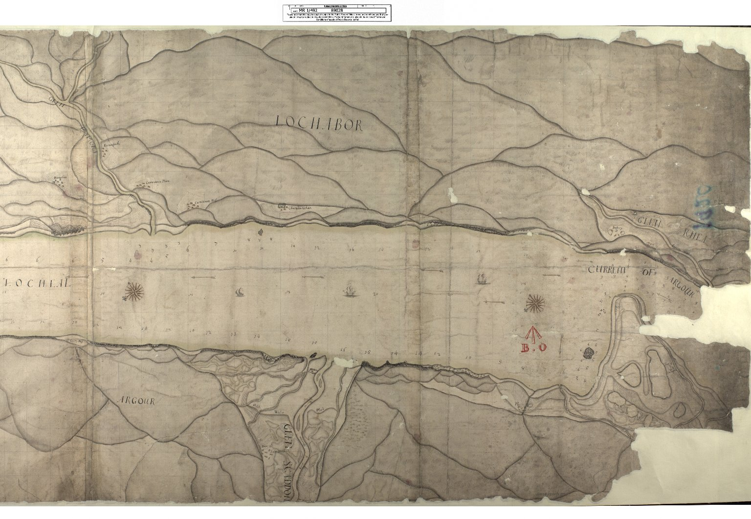 A True and exact Plan of Fort William scituate on ye Locheale in Lochabor in ye Shire of Inverness with ye Loch from ye current of Annol to ye current of Ardgour; [2 of 2]