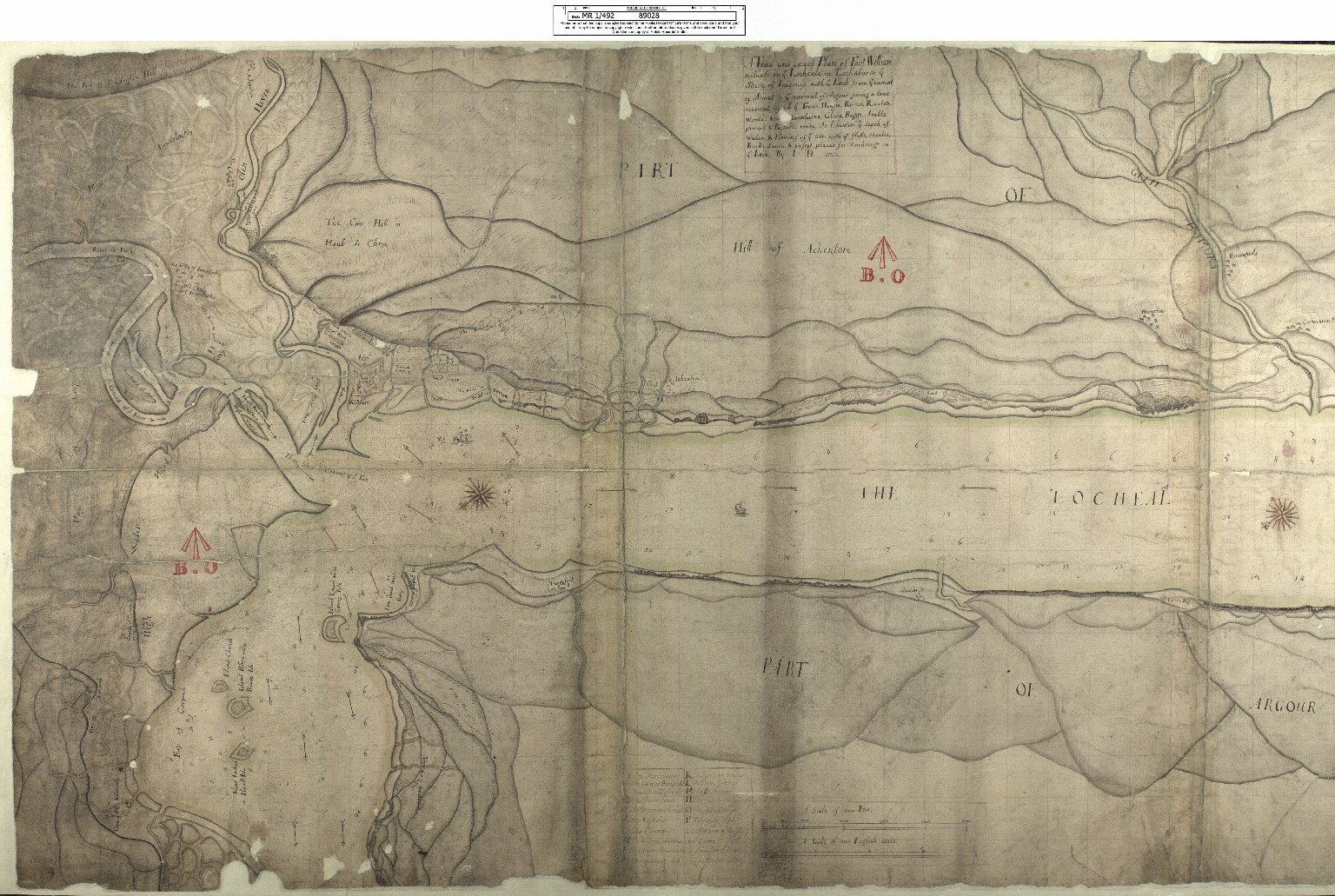A True and exact Plan of Fort William scituate on ye Locheale in Lochabor in ye Shire of Inverness with ye Loch from ye current of Annol to ye current of Ardgour; [1 of 2]