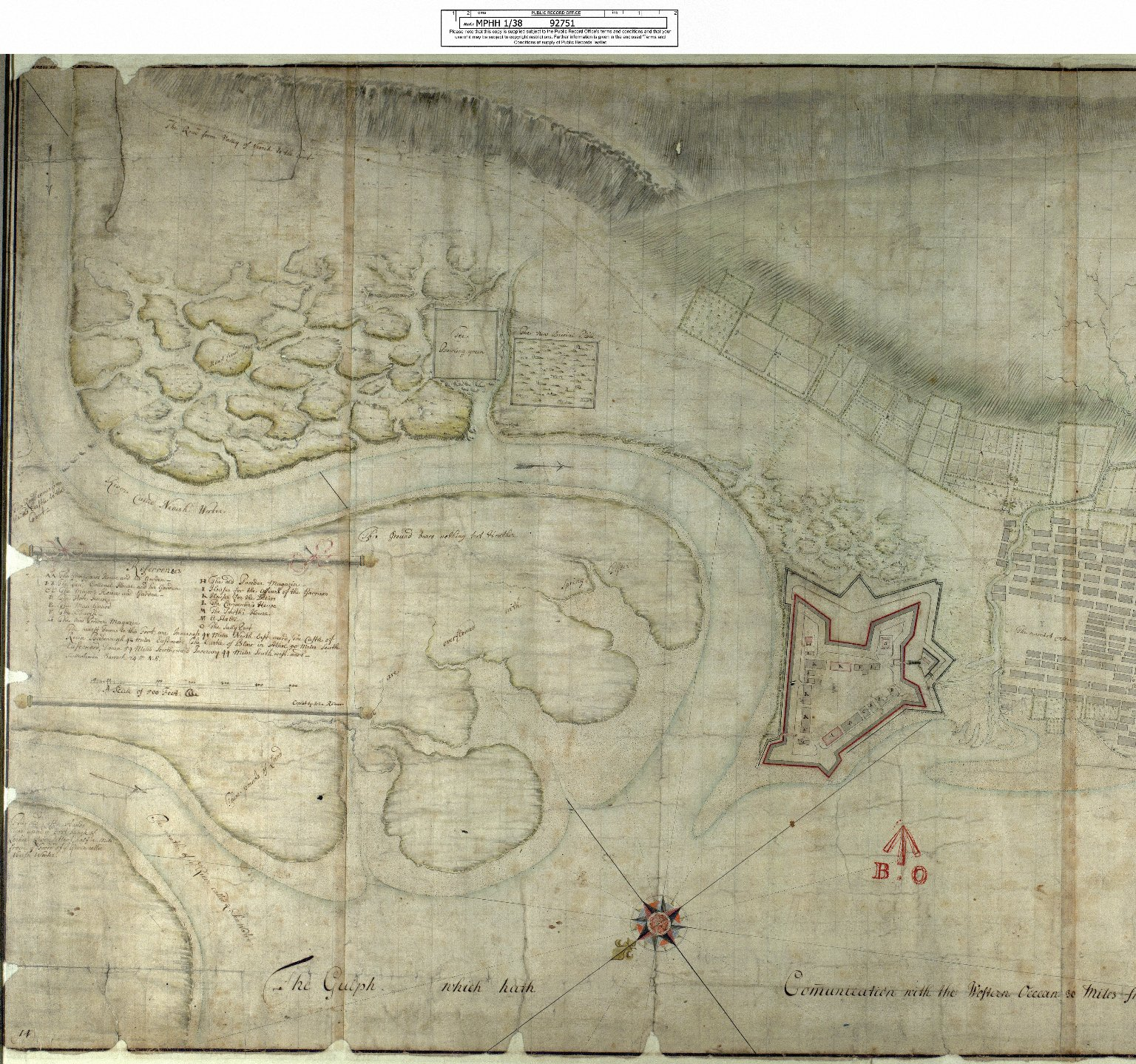 Draught of Fort William & Maryburgh With the fields and Waters thereabouts at Inverlochie in Lochaber [original map 1696] [1720 copy] [1 of 2]