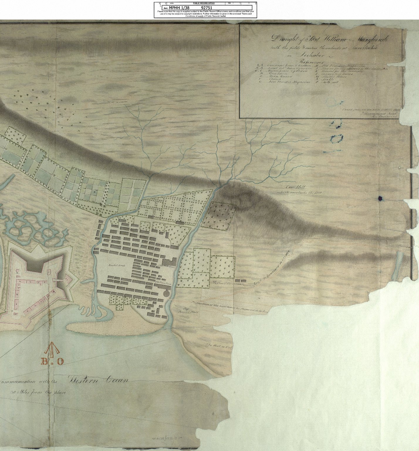 Draught of Fort William & Maryburgh with the fields and waters thereabouts at Inverlochie in Lochaber [original 1696] [1820 copy] [2 of 2]