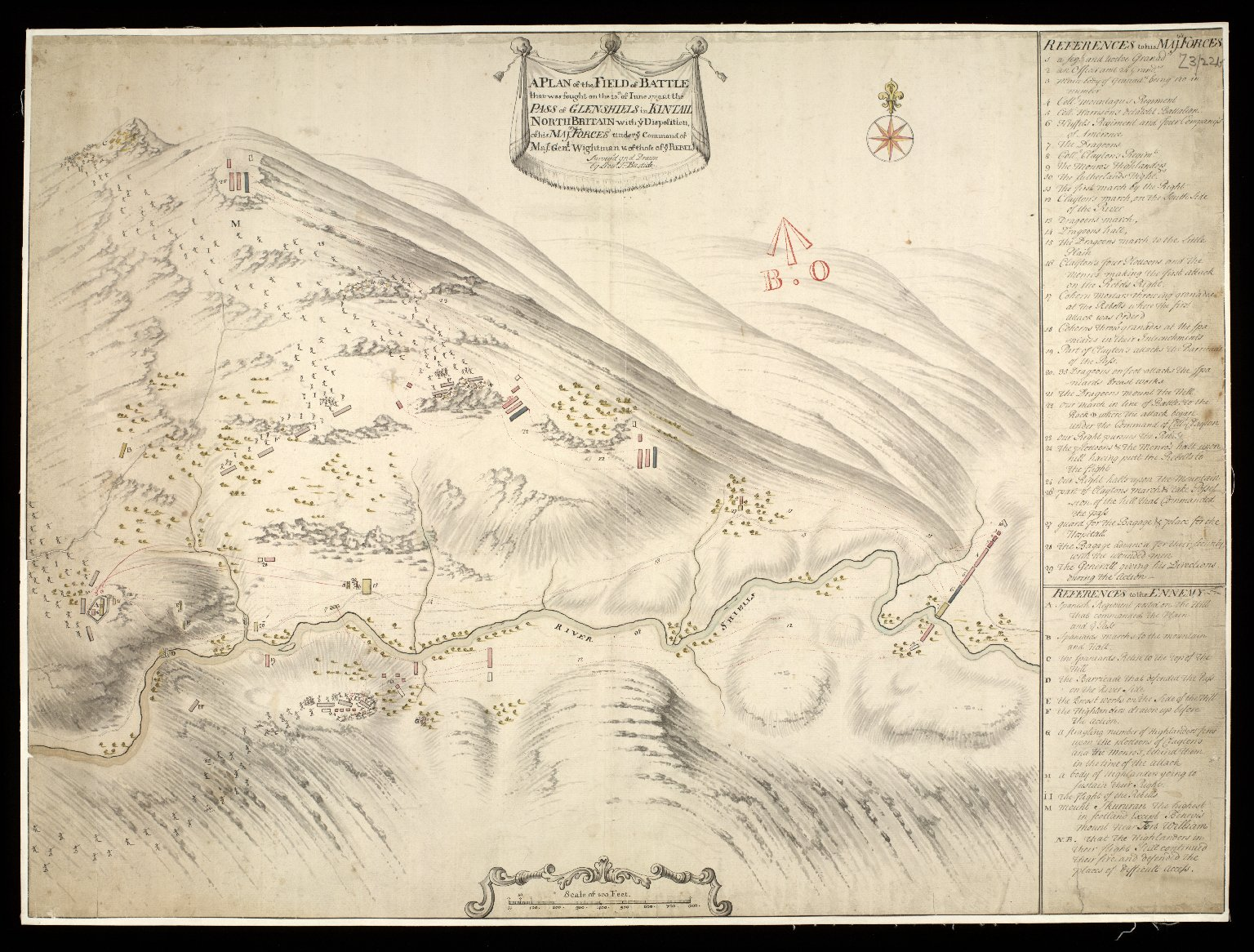 A Plan of the Field of Battle that was fought on the 10th of Iune 1719, at the Pass of Glenshiels in Kintail North Britain with ye Disposition of his Majtys Forces under ye Command of Majr. Genl. Wightman, & of those of ye Rebels [copy] [1 of 1]