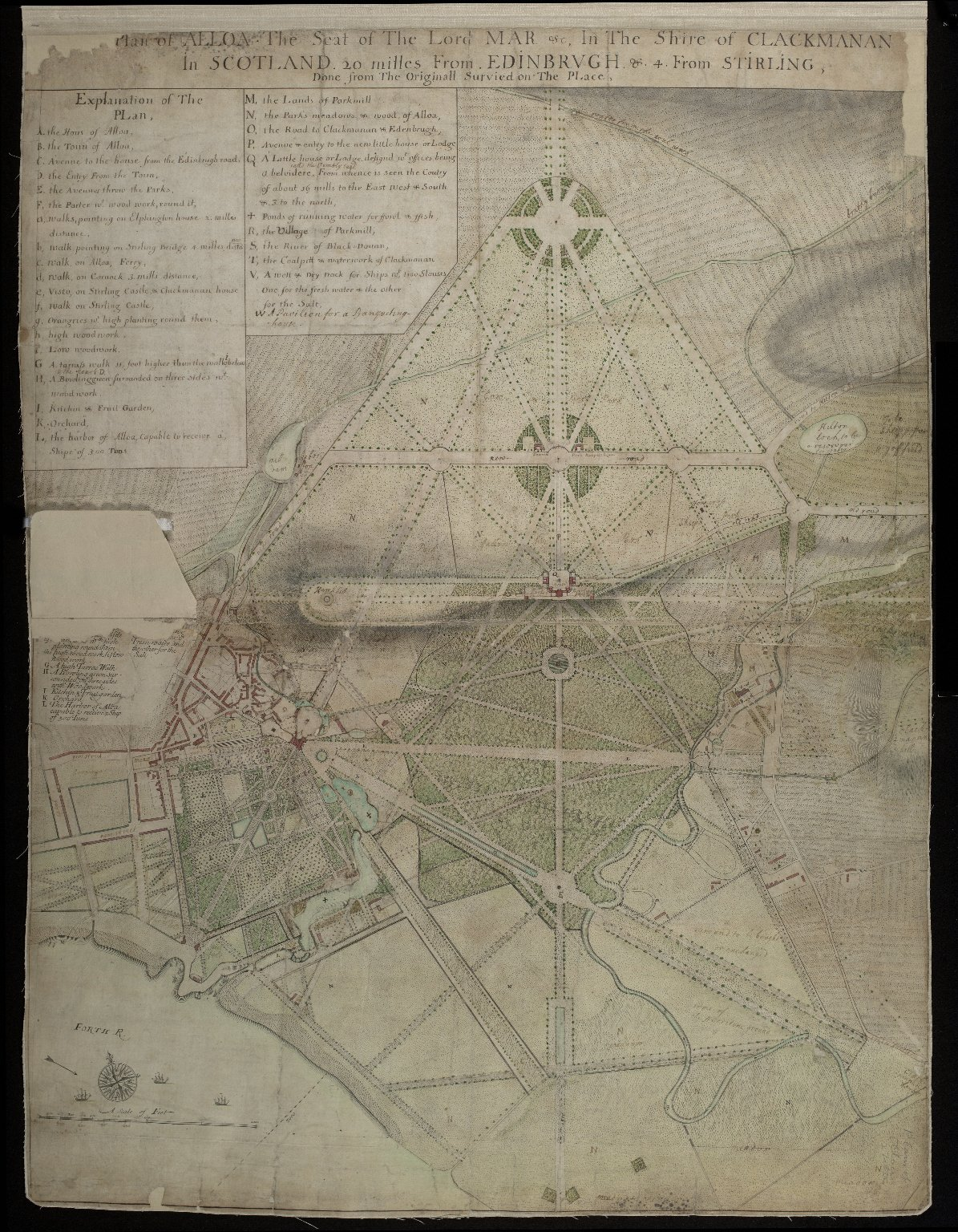 Plan of Alloa The Seat of The Lord Mar etc. In The Shire of Clackmanan In Scotland 20 milles from Edinbrugh & 4 From Stirling [2 of 2]