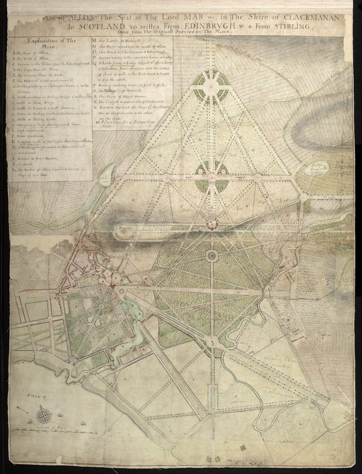 Plan of Alloa The Seat of The Lord Mar etc. In The Shire of Clackmanan In Scotland 20 milles from Edinbrugh & 4 From Stirling [1 of 2]