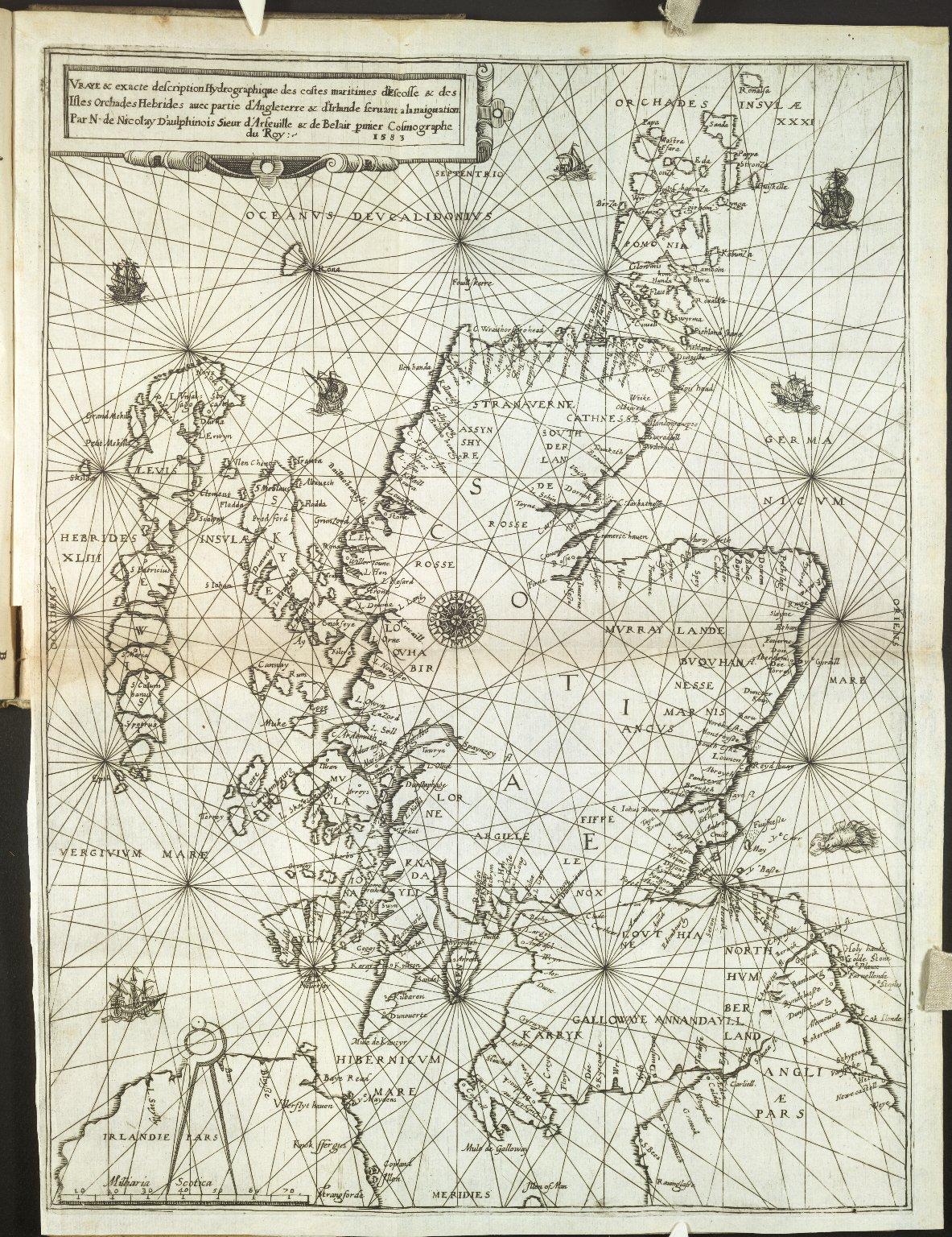 Vraye & exacte description Hydrographique des costes maritimes d'Escosse & des Isles Orchades Hebrides auec partie d'Angleterre & d'Irlande seruant a la naiguation [1 of 1]